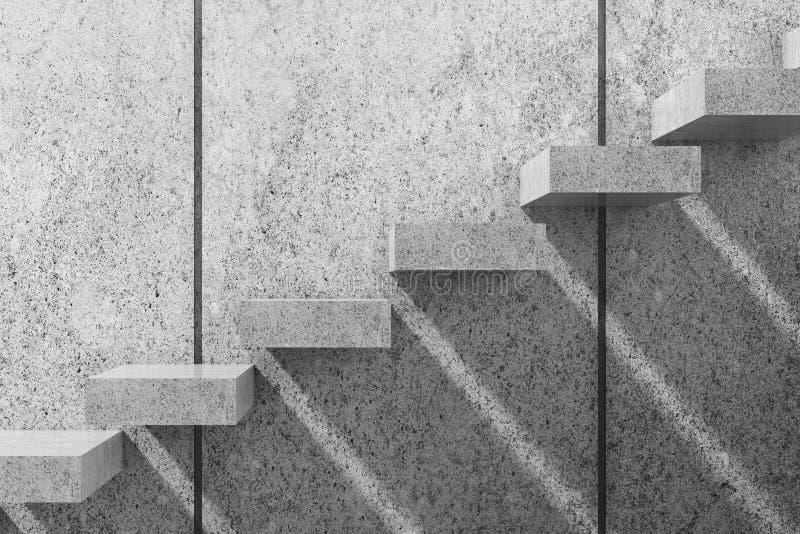 Weiße konkrete Treppe 3d übertragen Abbildung stock abbildung