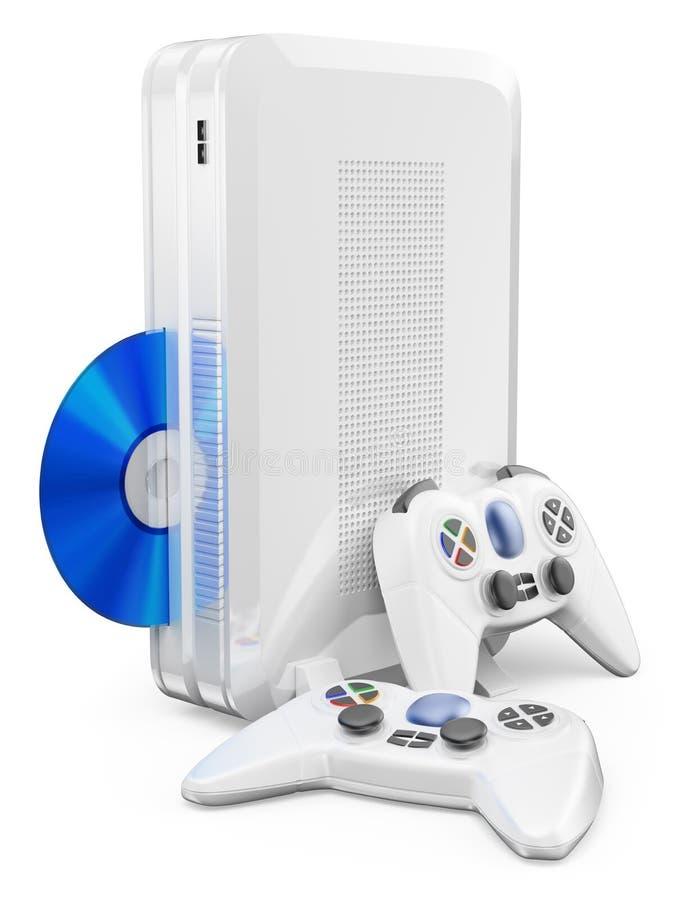 weiße Konsole des Spiels 3D mit gamepad stock abbildung