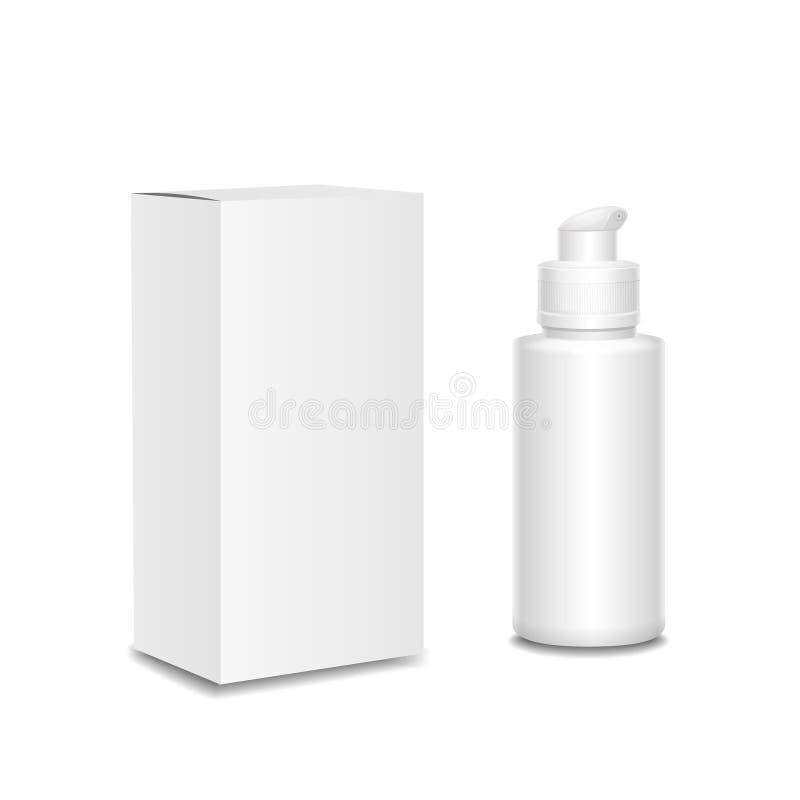 Weiße Kosmetikbehälter, Plastikflasche mit a stock abbildung