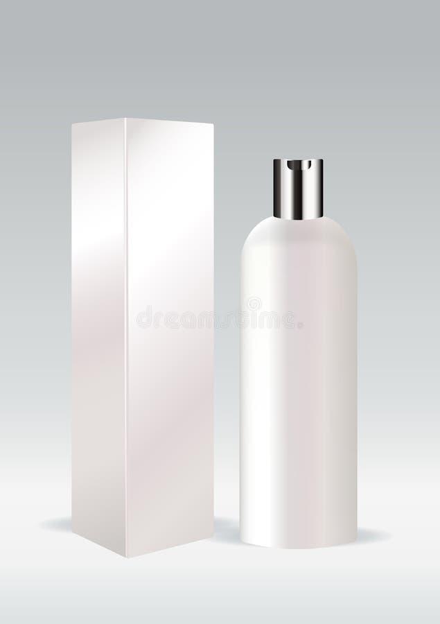 Weiße kosmetische Flasche stock abbildung