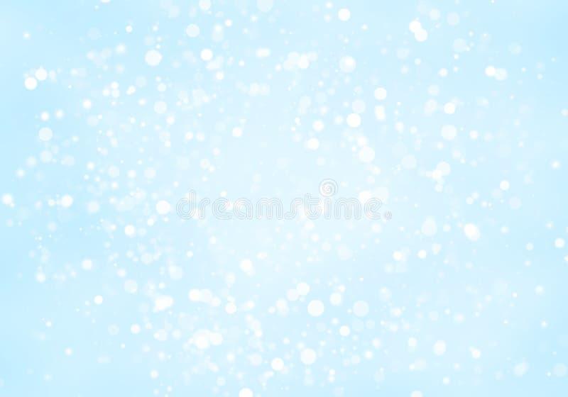 Weiße Kreise des abstrakten Funkelns formen bokeh auf hellblauem Hintergrund stockfotos