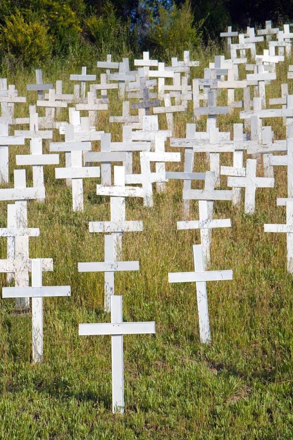 Weiße Kreuze auf einem Abhang lizenzfreie stockfotografie