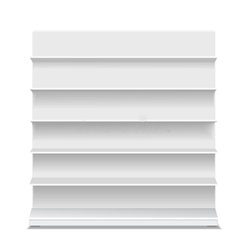 Weiße lange leere leere Schaukastenanzeigen mit Kleinillustration der regale 3d stock abbildung