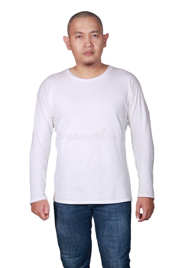 Weiße lange Sleeved Hemd-Design-Schablone lizenzfreies stockfoto