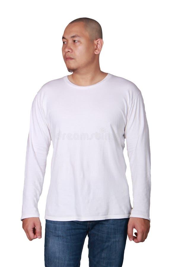 Weiße lange Sleeved Hemd-Design-Schablone stockfotos