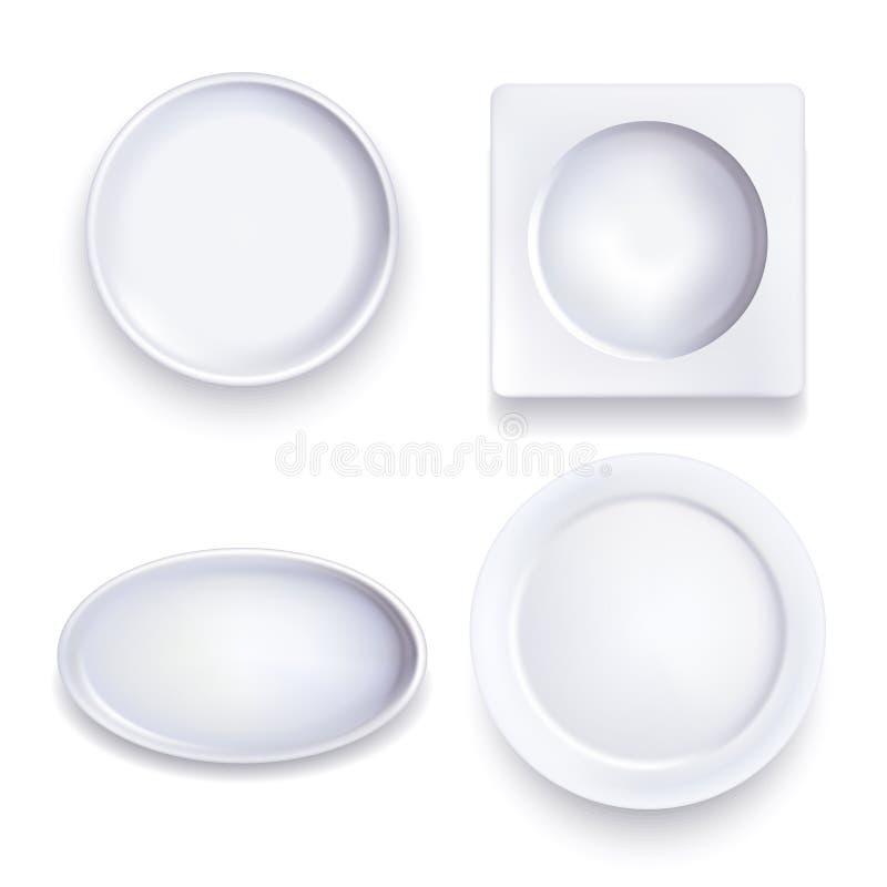 Weiße Lebensmittel-Platten des realistischen ausführlichen freien Raumes der Schablonen-3d Vektor vektor abbildung