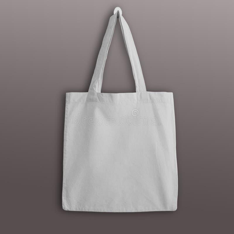 Weiße leere Baumwolle-eco Einkaufstasche, Designmodell lizenzfreies stockfoto