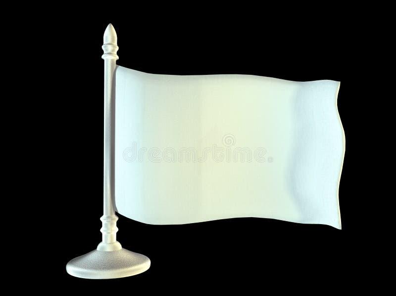 Weiße leere Flagge auf Metallglänzendem Fahnenmast 3d lizenzfreie stockfotografie