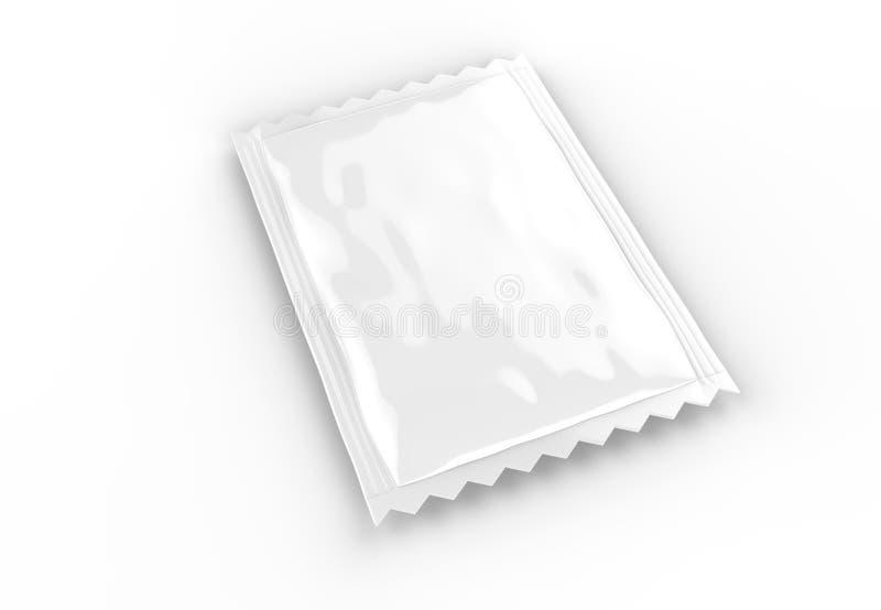 Weiße leere Folien- oder Plastikkissenverpackung für Kaffee, Salz, Zucker, Spezies, Shampoo Schablone für Spott herauf Ihr Design stock abbildung