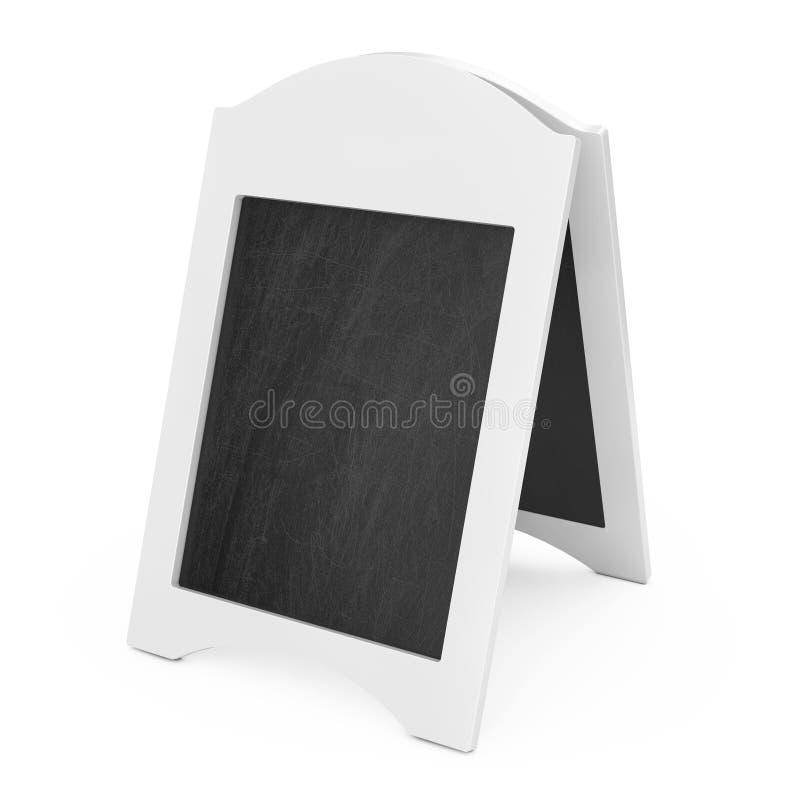 Weiße leere hölzerne Menü-Tafel-Anzeige im Freien Wiedergabe 3d lizenzfreie abbildung