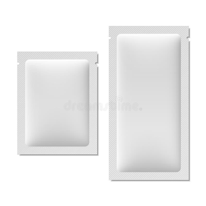 Weiße leere Kissenverpackung für Lebensmittel, Kosmetik oder Medizin stock abbildung