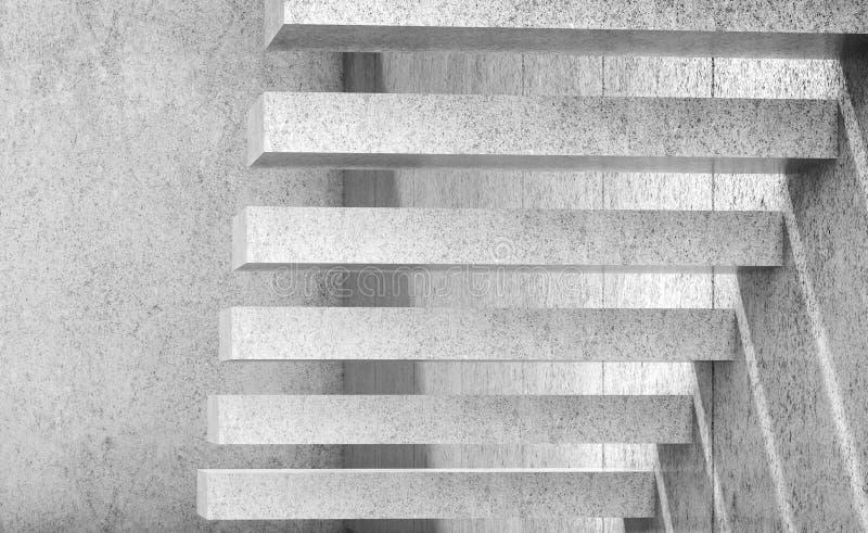 Weiße leere konkrete Treppe 3d übertragen Abbildung lizenzfreie abbildung