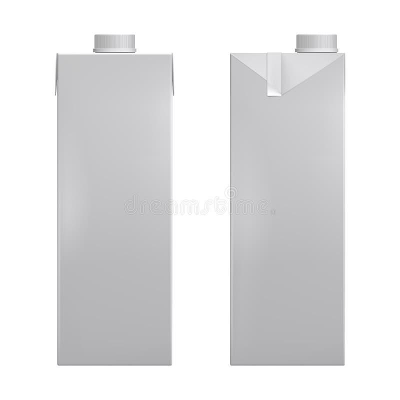 Weiße leere Modellpappschachtel, Paket für Milch, realistischer Vektor 3d des Safts lizenzfreie abbildung