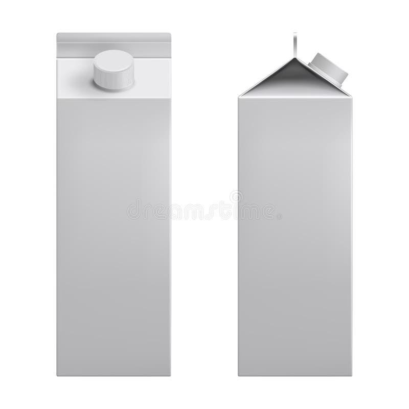 Weiße leere Modellpappschachtel, Paket für Milch, realistischer Vektor 3d des Safts vektor abbildung