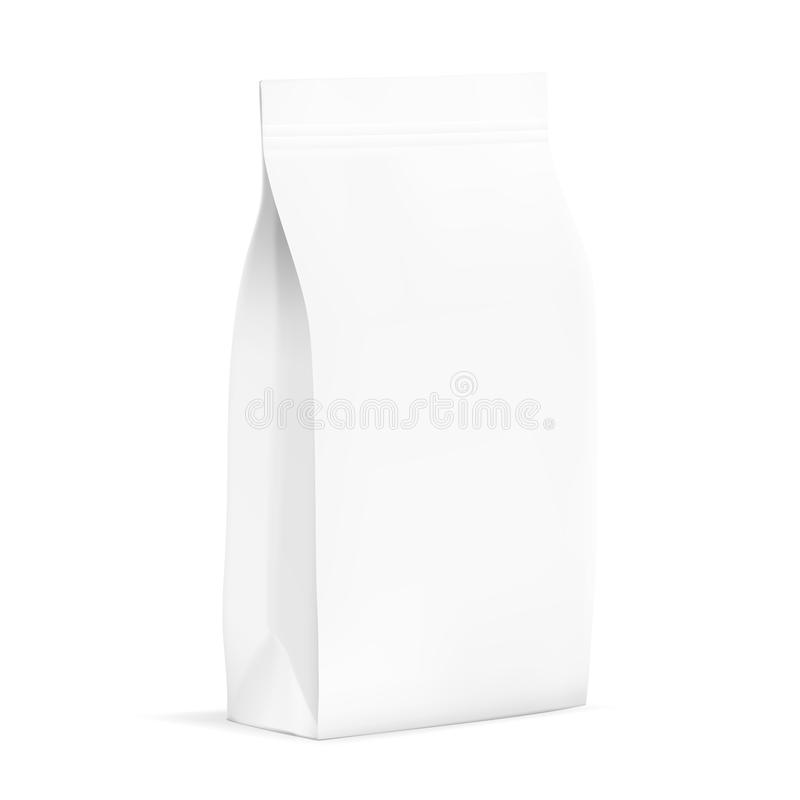 Weiße leere Plastik-oder Papier-Verpackung mit Reißverschluss Kissen für Brot, Kaffee, Candys, Plätzchen, Geschenke vektor abbildung