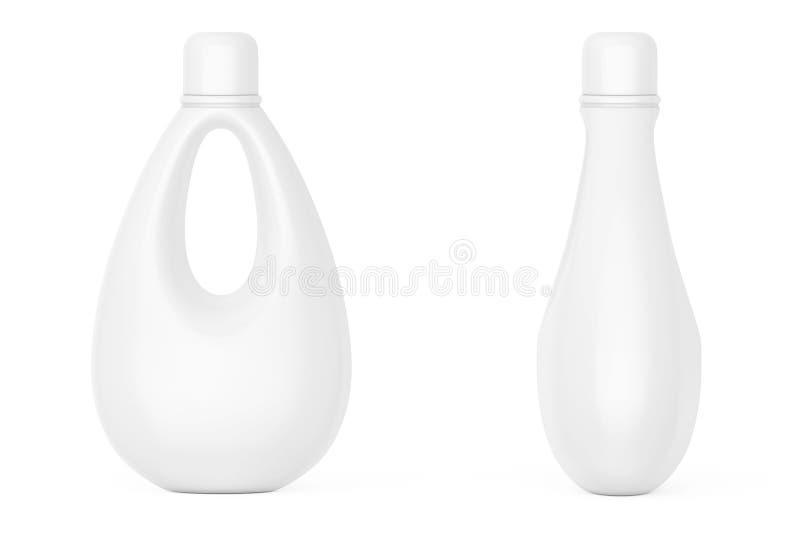 Weiße leere Plastikflasche für Bleichmittel, Flüssigwaschmittel vektor abbildung