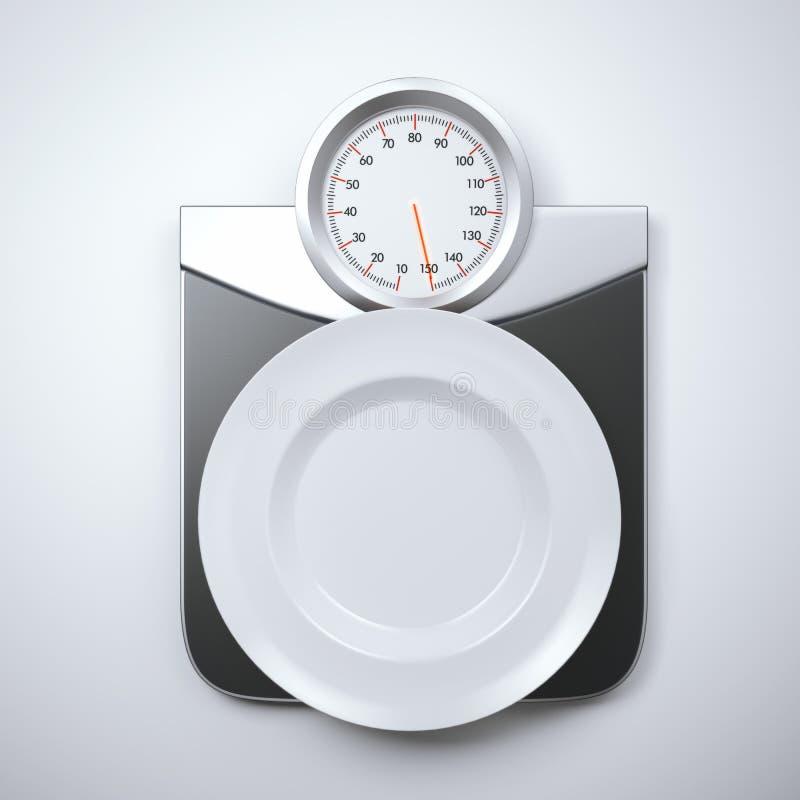 Weiße leere Platte auf Skalen eines Gewichts stock abbildung