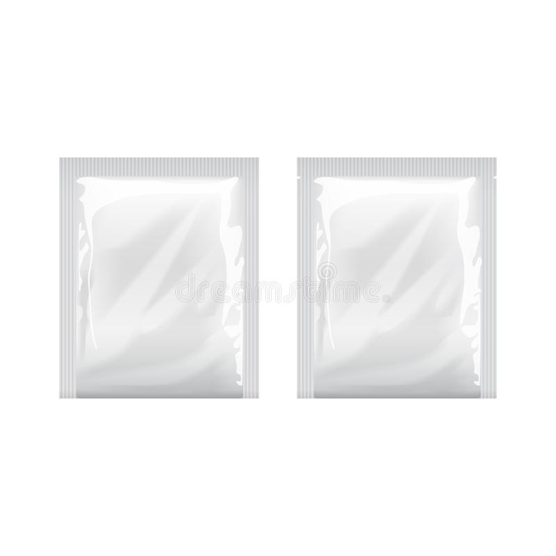 Weiße leere Schablone Verpackungs-Folie Lebensmittel-Verpackungs-Kaffee, Salz, Zucker, Pfeffer, Gewürze, Bonbons, Feuchtpflegetüc lizenzfreie abbildung