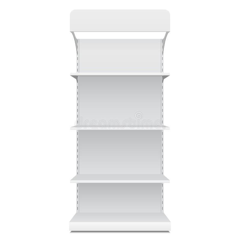 Weiße leere leere Schaukasten-Anzeigen mit Kleinprodukten regal-Front Views 3D auf dem weißen Hintergrund lokalisiert lizenzfreie abbildung