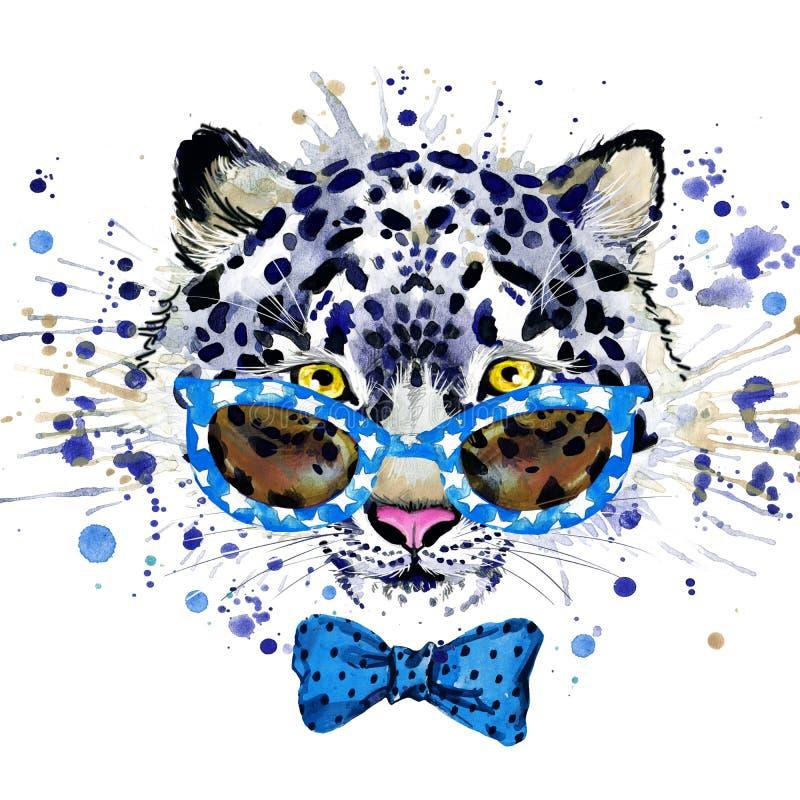 weiße Leopard T-Shirt Grafiken kühle Leopardillustration mit Spritzenaquarell maserte Hintergrund ungewöhnliches Illustrationswas lizenzfreie abbildung