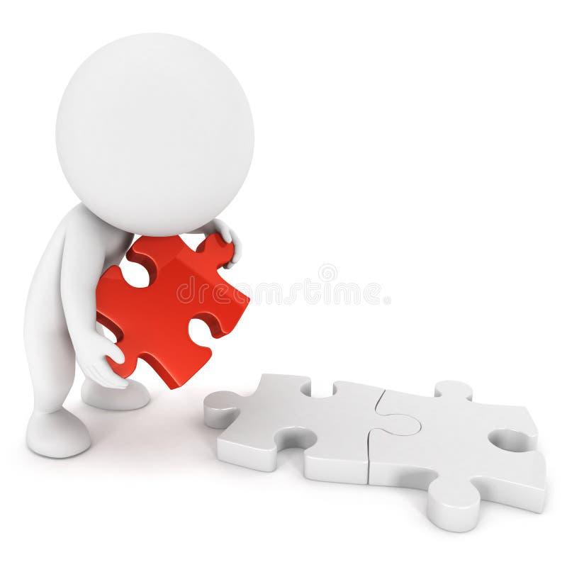 weiße Leute 3d, die Puzzlespiel tun lizenzfreie abbildung