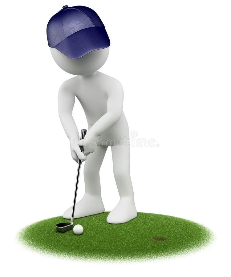 weiße Leute 3D. Golfspieler lizenzfreie abbildung