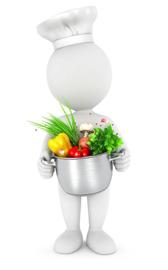 weiße Leute 3d mit dem Kochen des Topfes lizenzfreie abbildung