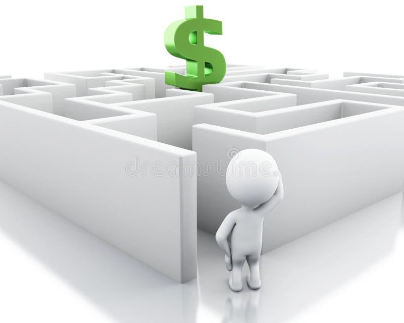 weiße Leute 3d mit einem Labyrinth- und Dollarzeichen lizenzfreie abbildung