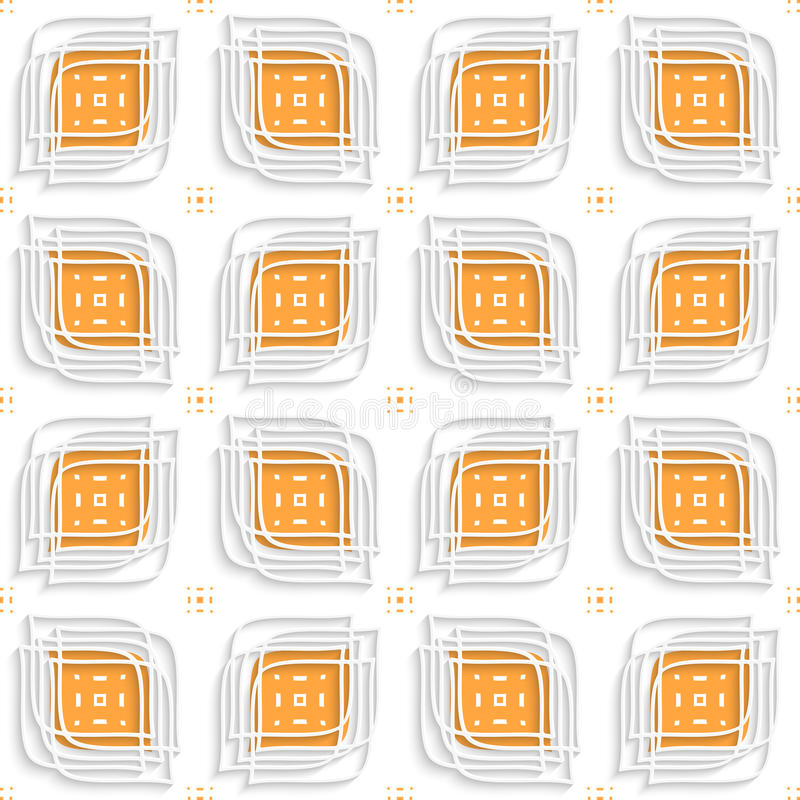 Weiße lineare Blätter überlagert auf orange nahtlosem vektor abbildung