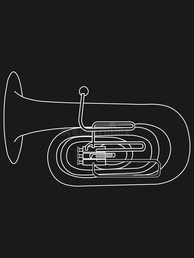 Weiße Linie Konturnzeichnung der Musikinstrumentillustration der Tuba vektor abbildung