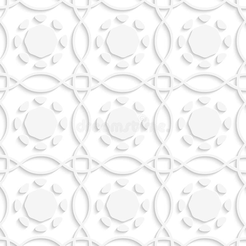 Weiße Linien und geometrische Blumen seamles lizenzfreie abbildung