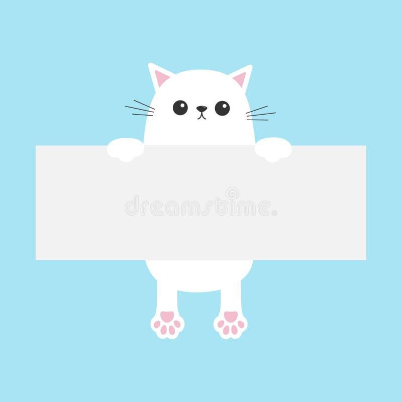 Weiße lustige Katze, die an der Kartonschablone hängt Kätzchenkörper mit Pfotenabdruck Nette Zeichentrickfilm-Figur Kawaii-Tier S stock abbildung