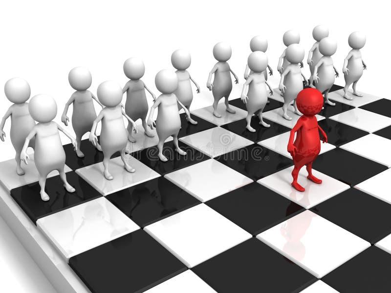 Weiße Männer 3d team auf Schachbrett mit rotem einzelnem Führer stock abbildung