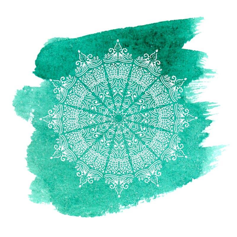Weiße Mandala auf grünem Aquarellhintergrund vektor abbildung