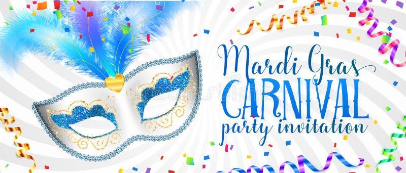 Weiße Mardi Gras-Fahnenschablone mit blauer Karnevalsmaske mit Federn lizenzfreie abbildung