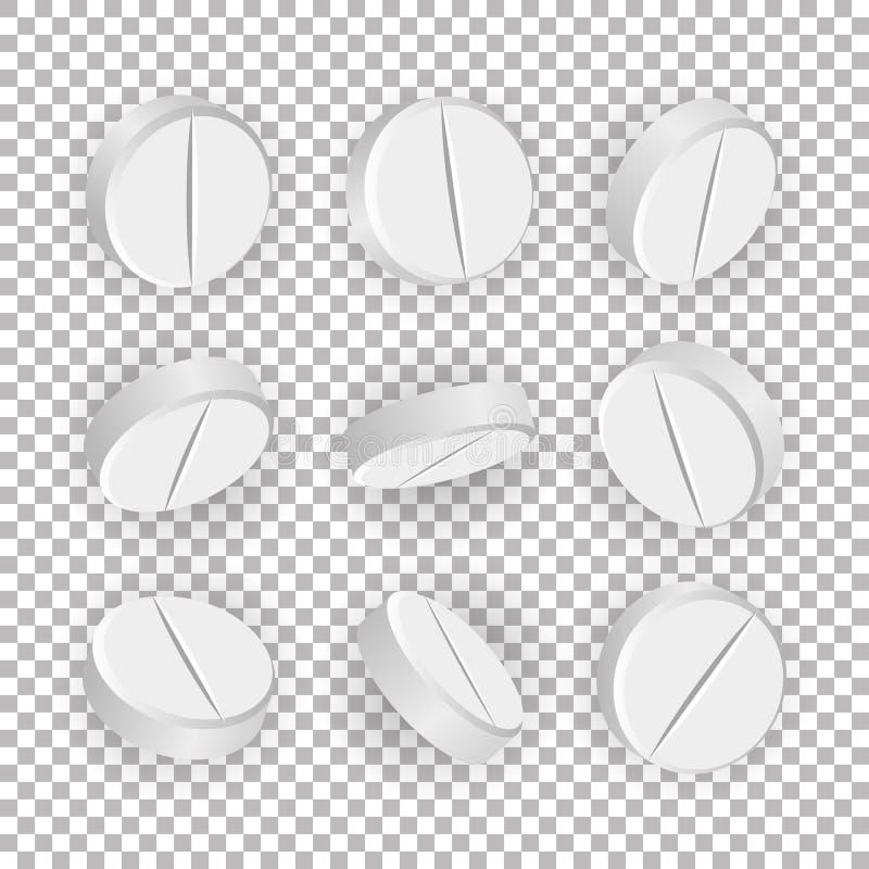 Weiße medizinische Pillen 3D oder Drogen Vector Illustration Satz realistische Tablets lokalisiert auf kariertem Hintergrund Vita lizenzfreie abbildung