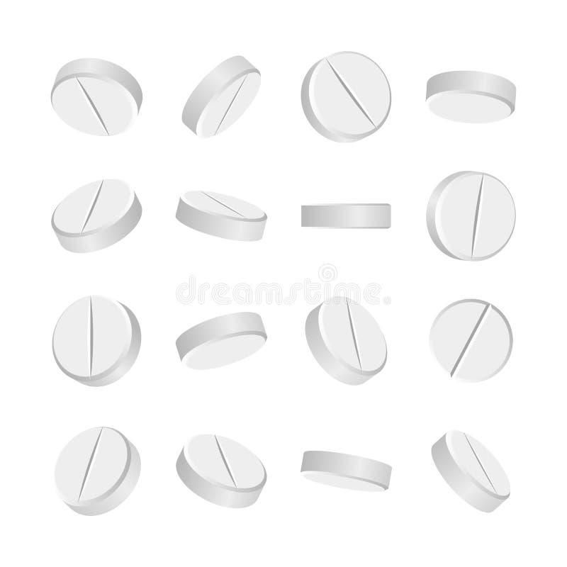 Weiße medizinische Pillen 3D oder Drogen Vector Illustration Tablets eingestellt in die verschiedenen Positionen lokalisiert auf  vektor abbildung