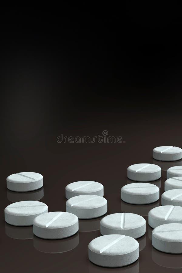 Weiße Medizinpillen vereinbart auf dunklem Hintergrund stockfoto