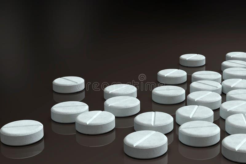 Weiße Medizinpillen vereinbart auf dunklem Hintergrund stockfotos