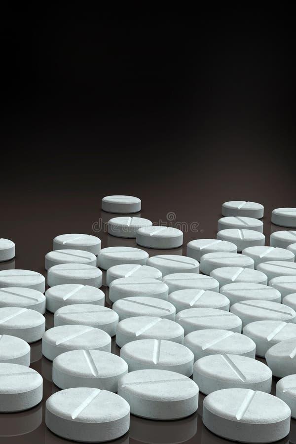 Weiße Medizinpillen vereinbart auf dunklem Hintergrund lizenzfreie stockfotos
