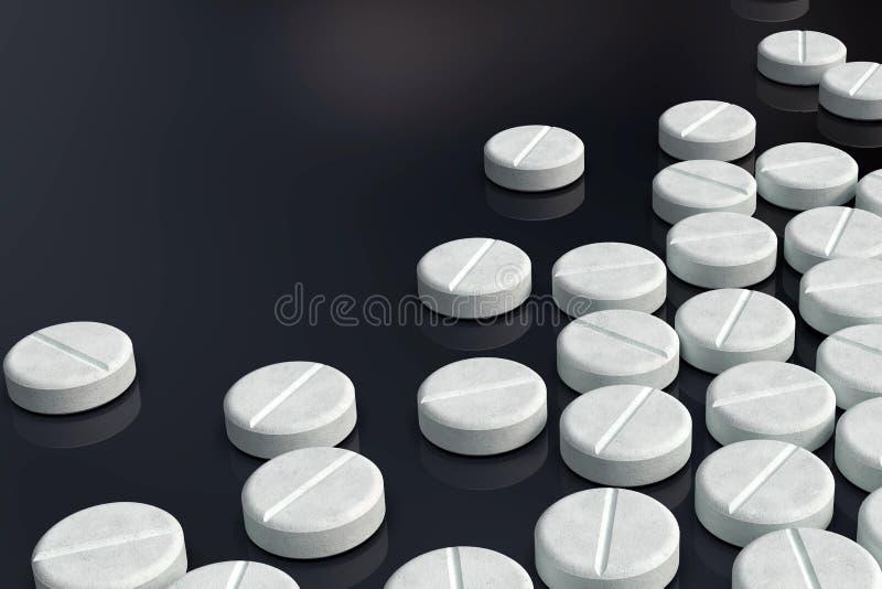 Weiße Medizinpillenanordnung auf dunklem Hintergrund lizenzfreie stockfotografie