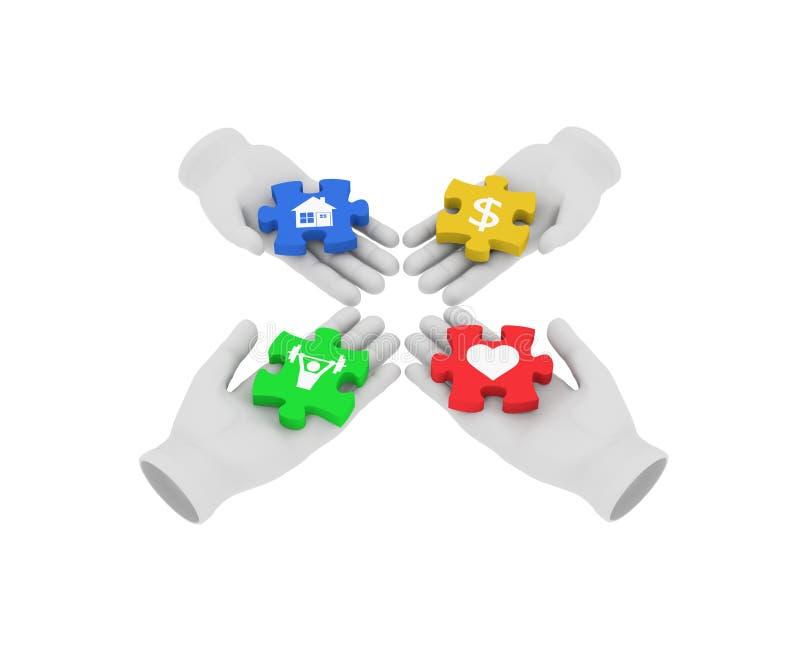 weiße menschliche Hand 3d, die farbige Puzzlespiele mit Symbolen anschließt 3d lizenzfreie abbildung