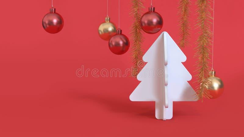 Weiße metallische rote Goldkugel 3d des Weihnachtsbaums des Zusammenfassungsweihnachtsroten Hintergrundes übertragen, Feiertagswe stockbild