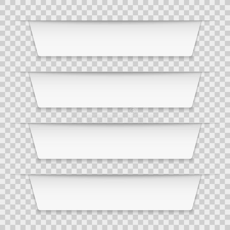 Weiße mit Laschen versehene Aufkleber Fahnen-Broschürenschablone des freien Raumes infographic, infographics Bandumbauten 3d Gesc lizenzfreie abbildung