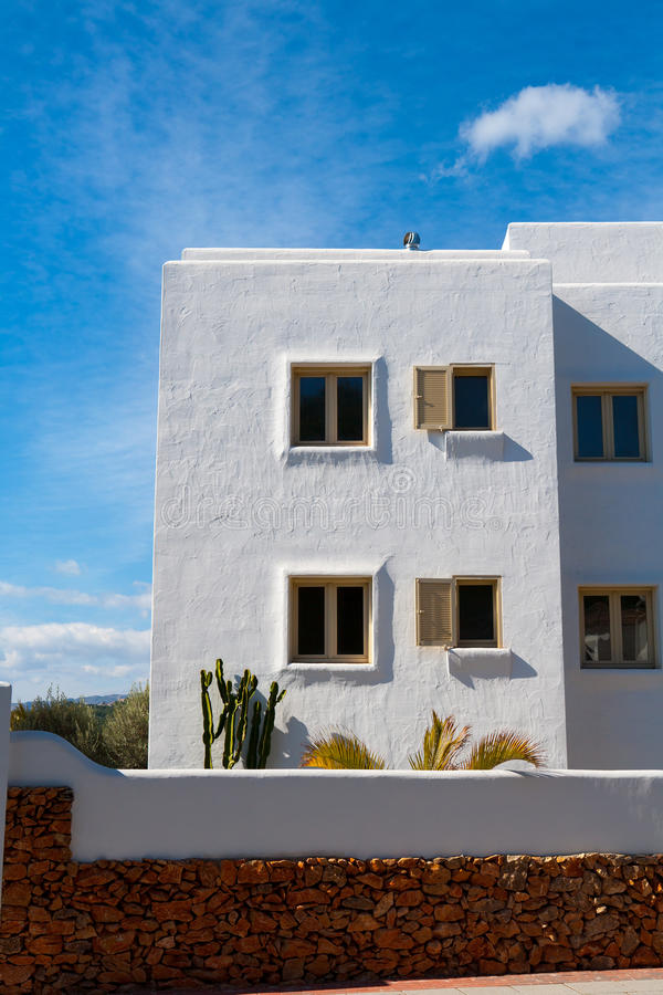 Weiße Mittelmeerhäuser in Javea Alicante stockbilder