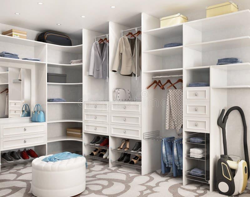 Weiße moderne Garderobe in einem großen Haus lizenzfreies stockbild