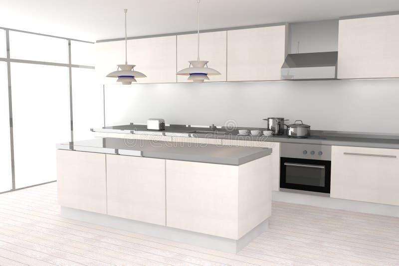 Weiße moderne Küche stock abbildung. Illustration von ...
