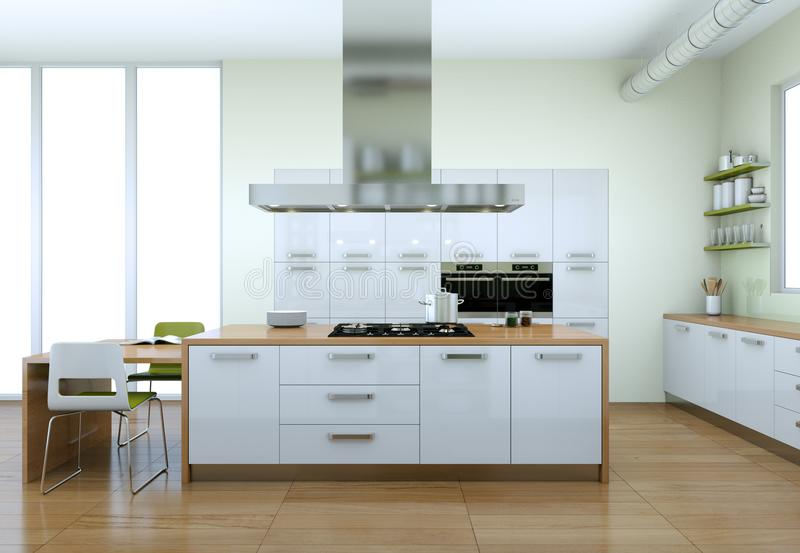 Weiße moderne Küche mit Innenarchitektur der grünen Elemente vektor abbildung