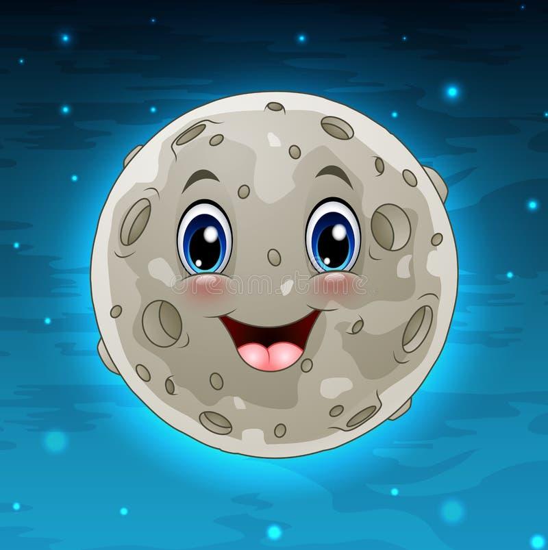 Weiße Mondkarikatur mit Stern im Himmel lizenzfreie abbildung