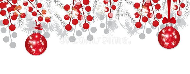 Weiße Niederlassungen des Weihnachtsbaums mit Stechpalmenbeeren und rotem Flitter Feiertagsdekorationsfahne Vektor stock abbildung
